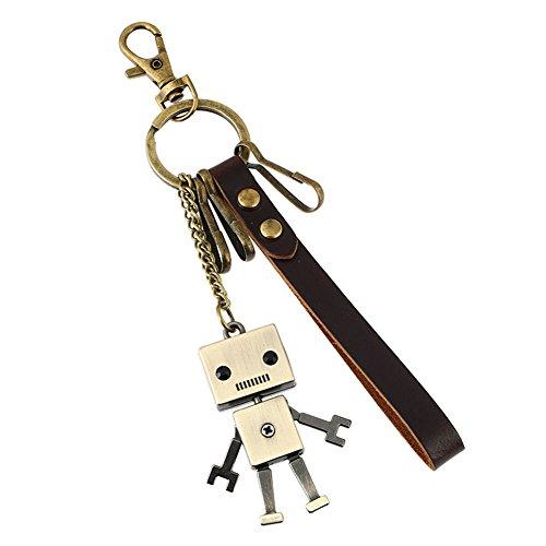 ユニーク(Unique) カラビナ キーホルダー おしゃれ メンズ レディース キーリング カップル かわいいロボット 牛革 キーチェーン 鍵揃い レトロ風 小物 合金製 メタリック プレゼント