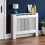 Vida Designs Cubre radiador Chelsea de Home Discount, diseño de moderno con lamas de DM pintado de color blanco