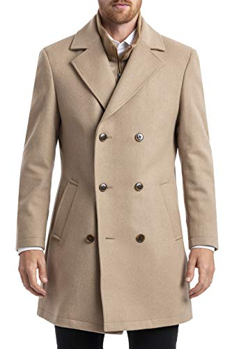 Chaps Men's Short Classic Double-Breasted Coat, Camel, 40S