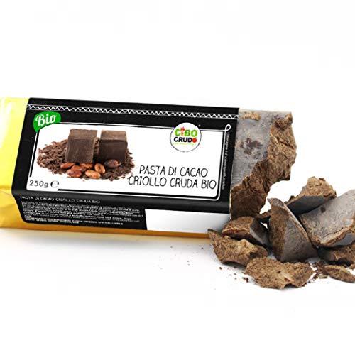 CiboCrudo Pasta di Cacao Biologica Intera Cruda, Cioccolato Puro al 100% - 250gr - Cocoa Liquor Raw Organic, Qualità Criollo, dalle Piantagioni Bio del Perù, Etichette in Italiano
