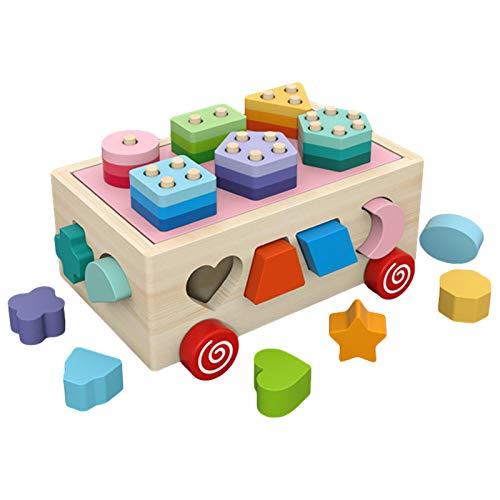 Sorter de madera, juguete de apilamiento del sorter de formación para el niño 1-5, cubo de clasificación clásico con bloques de apilado para niños