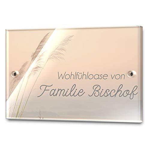 Edles Türschild mit Namen für die Haustür | Namensschild Briefkasten-Schild selbstklebend oder mit Bohrlöcher Klingelschild mit kratzfestem UV Druck | Größe ab 8x5 cm bunte Türschilder