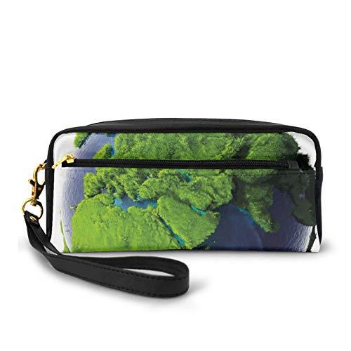 Estuche pequeño de piel sintética, cubierto por el mundo con exuberante hierba verde bosque y aguas azules Eco Nature Concept, bolsa de maquillaje bolsa