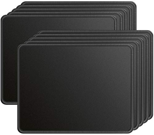 Ktrio 10 Pack Mouse Pad with Stitched Edges Large Mousepad with Superior Micro-Weave Cloth Non-Slip Base Mousepads Water Resist Mouse Pads for Computers, Laptop, Gaming, Office & Home, 11x8.5in, Black