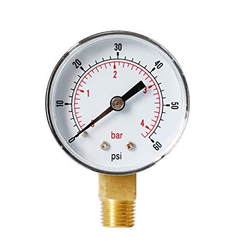 Timetided Manómetro Radial Barómetro de Alta precisión Manómetro hidráulico Manómetro de Agua Manómetro de precisión - Negro - 60 PSI