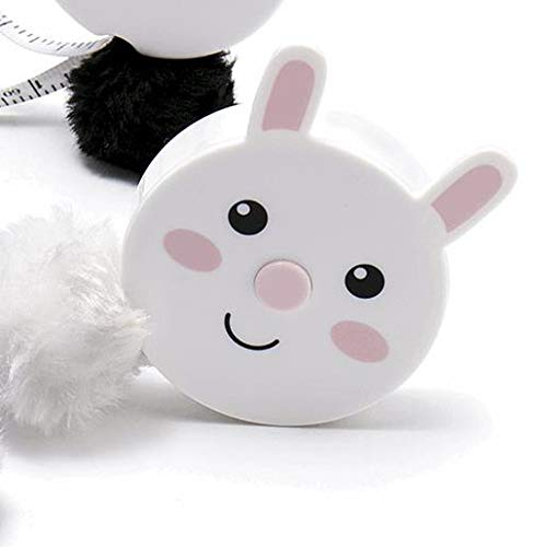 Cute Animal Retractable Tape Measures - with Fluffy Pom-Pom Tail and Lanyard Hole (Bunny Rabbit)
