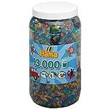 Hama Perlen 211-54 Bügelperlen XXL Dose mit ca. 13.000 bunten Midi Bastelperlen mit Durchmesser 5 mm im Transparent Glitter Mix, kreativer Bastelspaß für Groß und Klein -