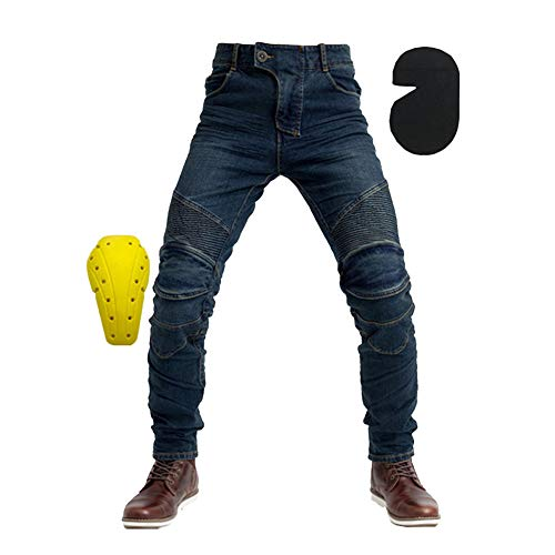GELing Hombre Motocicleta Pantalones Moto Jeans Con Protección Aramida Motorcycle Biker Pants,Azul,3XL
