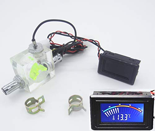 LED Thermometer 3 Way Flow Meter FlowMeter For Water Cooling Liquid Cooler...