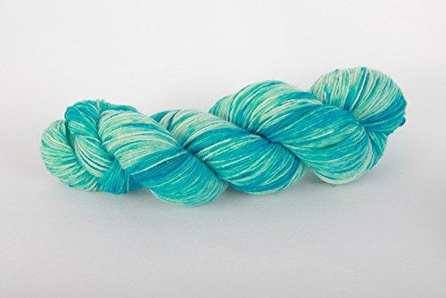 NaRoKnit handgefärbte Sockenwolle in türkis mit besonderem Farbverlauf Cady 100 g ca 420 m 75% Wolle/25% Polyamid
