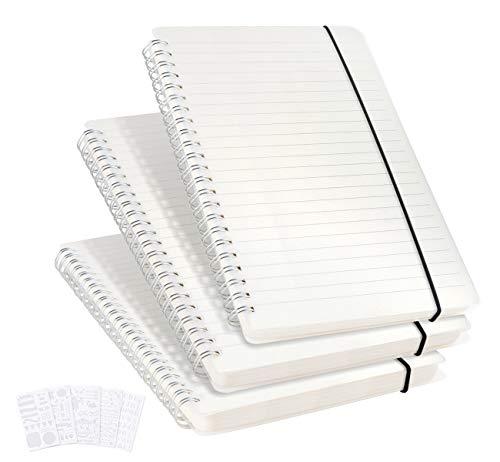 3er Pack Liniertes Notizbuch A5 - Notizheft Liniert Lined notebook Spiral (No Bleed) mit 5 DIY Schablonen, 480 Seiten, Dickes Papier 120 g/m² Dickes Gepunktete Papier, 5.7 x 8.3 Inch