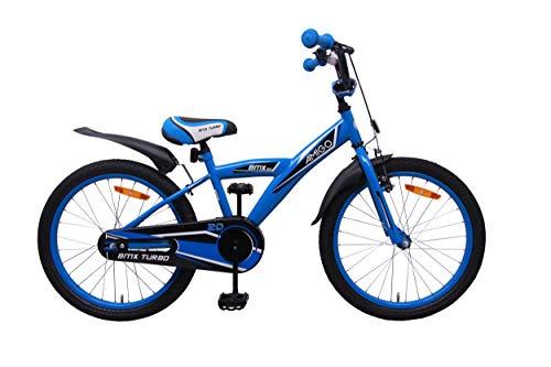 AMIGO BMX Turbo - Kinderfahrrad für Jungen - 20 Zoll - mit Handbremse, Rücktritt, Lenkerpolster und fahrradständer - ab 5-9 Jahre - Blau