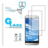 KATIN HTC One M8 Screen Protector - [2-Pack] 9H Hardness Tempered Glass for HTC One M8 Bubble Free with Lifetime Replacement Warranty