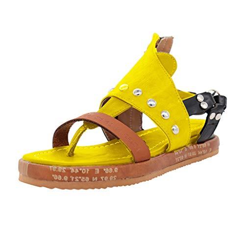 Scenxion Damen Vintage Flache Sandalen PU Leder Clip Toe T-Strap Slip-On Solid Color Strand Schuhe Rom Sandalen Flip Flops Wedges Sandalen Kunstleder Plateauschuhe, Gelb - gelb - Größe: 38 EU