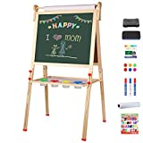 YOHOOLYO Kids Wooden Art Easel with Paper Roll, Double Sided Whiteboard Chalkboard Children Easel,Adjustable Height Magnetic Dry Easel Drawing with Kids Art Easel Playset for Boys Girls Gifts