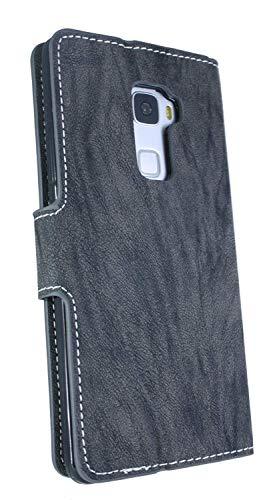 Huawei Ascend Mate S Buchtasche Hülle Case Tasche Wallet BookStyle mit STANDFUNKTION Anthrazit @ Energmix - 5