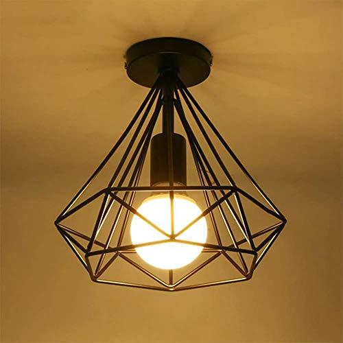 Lámpara de techo vintage industrial de metal, color negro, jaula de hierro, para pasillo, porche, salón, cocina, salón, dormitorio, color negro