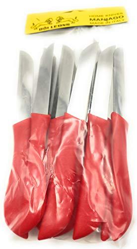 KIMERA Juego de 12 cuchillos de mesa, frutas y verduras, cuchillo de acero inoxidable AISI420 de 8 cm. Mango de polipropileno verde manzana – Navaja Pascot | Doi Leons (rojo fresa)
