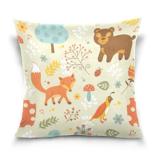 PUXUQU Throw Pillow Cover 16x16 inches Cute Fox Bear Ladybug Mushroom Floral Leaves Decorative Square Throw Pillow Case Cushion Covers for Couch Sofa Bedroom Car