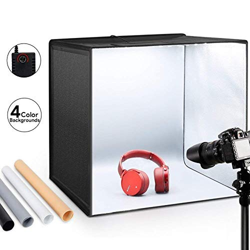 ESDDI Photo Studio Light Box 20'/50cm Adjustable Brightness Portable Folding Hook & Loop Booth...