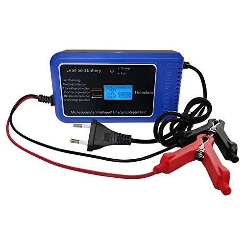 CUIJU Cargador de batería para automóvil y Motocicleta Cargador de batería de Plomo-ácido 12V10A con Pantalla LCD Inteligente (Azul)