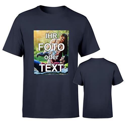 T-Shirt mit eigenem Foto Text Logo Name selbst gestalten * ringgesponnene Baumwolle * vollfarbig EINSEITIG Bedruckt * viele Farben, Farbe: Dunkelblau, Größe: XXL