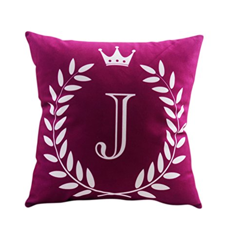 "ZUODU 45X45CM Letter Crown Printing Peach Skin-Like Decorative Pillow Cover Cushion Cover 18x18"" Free Combination (Letter J)"