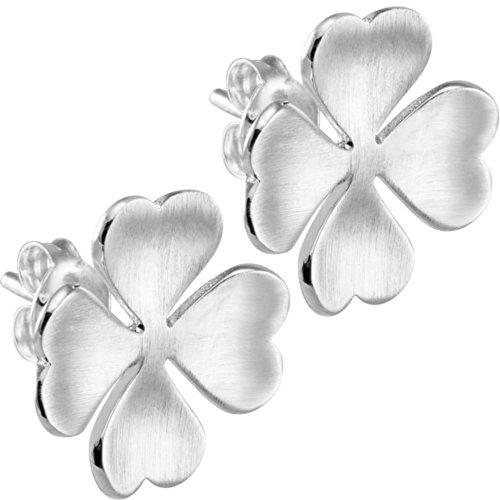 Vinani Ohrstecker Kleeblatt mattiert Sterling Silber 925 Blume Ohrringe OKL