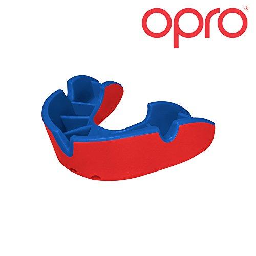 Opro Mundschutz Silver - Zahnschutz für Handball, Karate, Rugby, Hockey, Boxen, Lacrosse, American Football, Basketball - Selbst anformbar - im UK Entworfen & Hergestellt (Rot/Blau, Erwachsene)