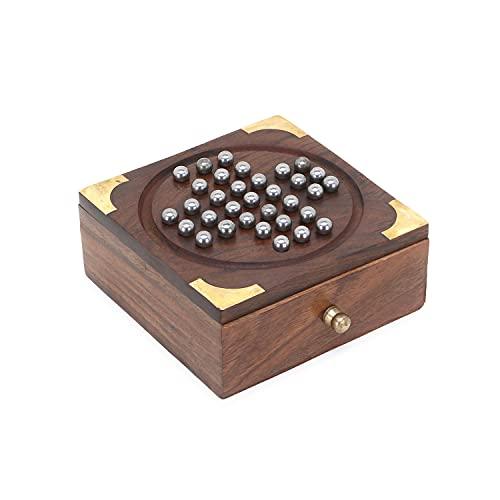 Zap impex Juego de mesa solitario indio de madera hecho a mano con bolas de acero