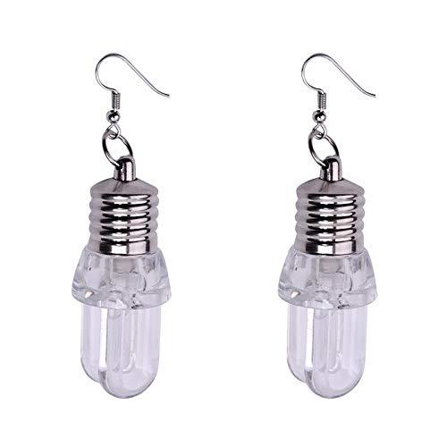 Aiserkly 1 paio di orecchini alla moda con lampadina LED lampeggiante comoda, gioielli per donne e matrimoni e Lega, colore: Clear-c, cod. Aiserkly-1