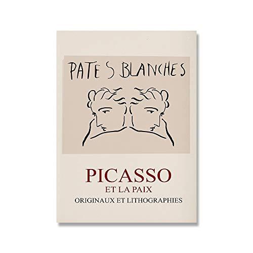 Cuadro sobre lienzo para pared Picasso Matisse,carteles e impresiones nórdicos con flores abstractas para niña,pintura en lienzo sin marco para el hogar E 50x70cm