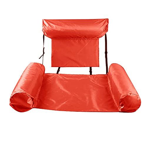 Anillo De Natación con Respaldo De Agua Reclinable Cama Flotante Anillo De Natación Inflable Fila Flotante Plegable 100*120cm Rojo