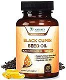 Black Seed Oil Capsules, 1000mg Premium Nigella Sativa Black Cumin Seed Oil (Non-GMO), Amazing Antioxidant High Thymoquinone, Liquid Blackseed Supplement - 60 Capsules
