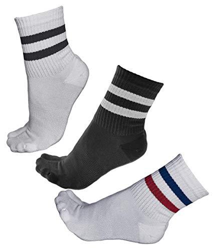 vitsocks Damen Tennissocken BAMBUS Retro Sport Socken Streifen (3x PACK) gepolstert atmungsaktiv, 2x weiß 1x schwarz, 39-42