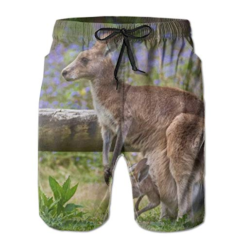 LREFON Pantalones Cortos de Playa de Secado rápido para Hombres K-an-ga-Roo Forro de Malla de Pasto Surf Bañadores con Tasche 2XL