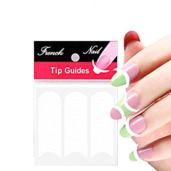 1200 Pieces French Manicure Nail Art Stickers French Nail Stickers French Manicure Kit Self Adhesive Nail Tips for Nail Art Design and Pattern Application DIY Decoration  25 Sheets