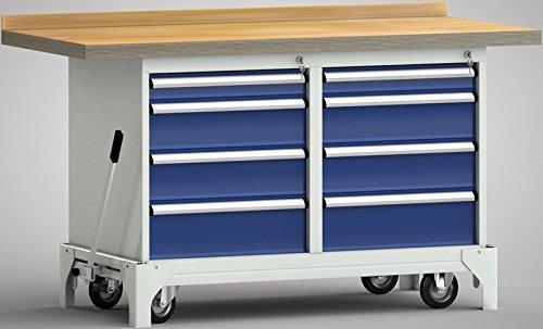 Werkbank fahrbar mit Hebesystem 1500x700x871 mm 8 Schubladen WP782N-1500M45-E7060
