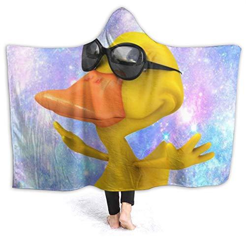 FONDSILVER - Manta de Franela Suave con Capucha, diseño de Pato con Gafas de Sol en el Cielo, para Hombre y Mujer, Franela, Negro, 80'x60'