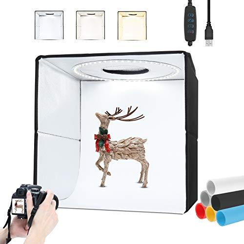 Box Fotografico Portatile Pieghevole 40x40x40cm, Professionale Lightbox con 3200K-5500K LED Dimmerabili, 6 Colori di Sfondo (Grigio, Bianco, Nero, Giallo, Blu, Rosso), Accessori Fotografia, Softbox