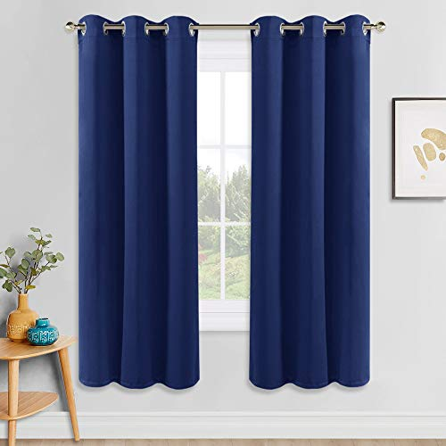 """PONY DANCE Bedroom Blue Curtain - Blackout Panels Decorative Home Fashion for Solid Light Blocking Window Treatments Thermal Insulated Drapes for Kids' Room, 42"""" W x 72"""" L, Navy Blue, One Pair"""