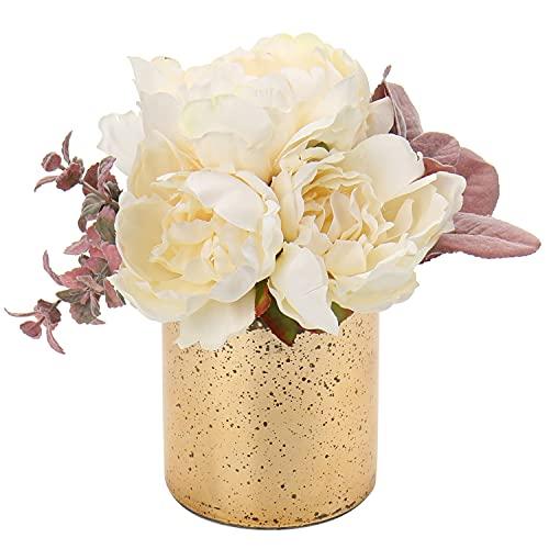 Peony Flores artificiales en jarrón de peonías falsas para decoración del hogar, oficina, peonía artificial con florero de cristal de mercurio para centros de mesa, color crema