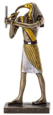 Top Collection Thoth Statue - Ancient Egyptian God of Knowledge and Wisdom Sculpture in Premium Cold Cast Bronze - 9.5-Inch Collectible Figurine