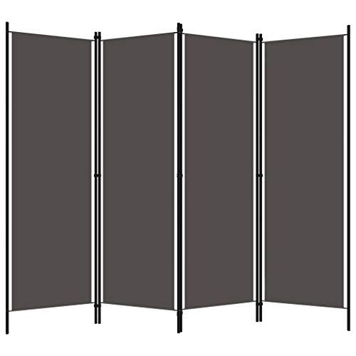 Irfora 4-TLG Paravent Raumteiler Trennwand Raumtrenner Wandschirme Sichtschutz Dekoration Weiß/Anthrazit 200x180 cm