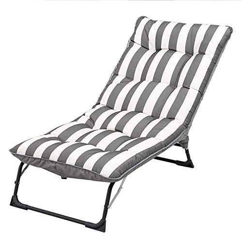 Slaapkamer inklapbare gewatteerde vloer stoel zonnebed opvouwbare ligstoel rugleuning multi-bereik instelling compleet samengestelde katoenen doek enkele sofa inklapbaar draagbaar (kleur: grijs) Grijze strepen