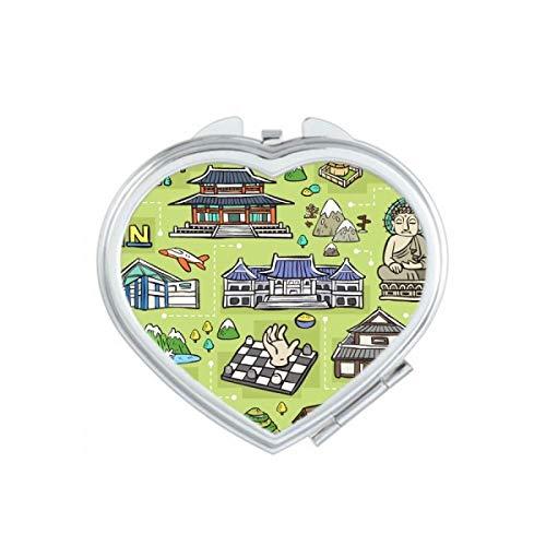 DIYthinker Sites touristiques à Séoul Corée du Coeur Maquillage Compact Miroir de Poche Portable Mignon Petit Cadeau Miroirs Main Multicolor