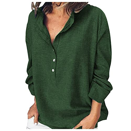 LalalukaT-ShirtDamenBluseMode Einfarbig Langarm V-Ausschnitt Tasten Oberteil Bluse SommerFrauenTshirt T-ShirtBlusenTunikaTopBluseshirtT-ShirtHemdLongshirtKurzarmshirt