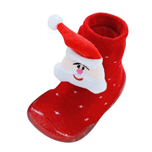 Sensail Chaussettes antidérapantes bébé fille hiver enfants noël rayures vague chaussettes de sapin de Noël slip chaussons enfant en bas âge semelles en caoutchouc chaussettes chaussettes de sol