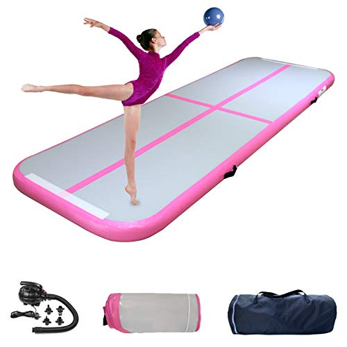 Inflatable Tumbling Mat Gymnastics Tumble Track Mats 4 Inch Thickness Training Mats with Air Pump for Kids Gym Home Use Cheerleading Yoga PINK 10FT*328FT*4IN