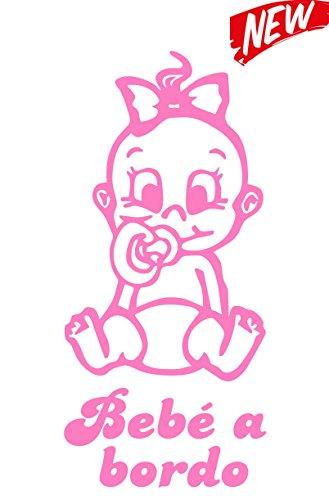 Artstickers® - Adesivo Bebè a bordo da bimba,collezione Babyfun, 10colori a scelta 9cm x 16,5 cm Rosa